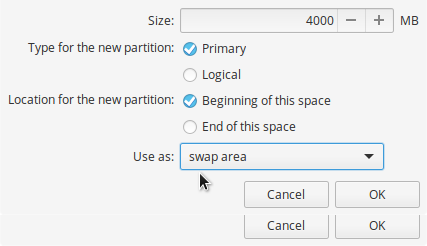 elementary OS swap partition