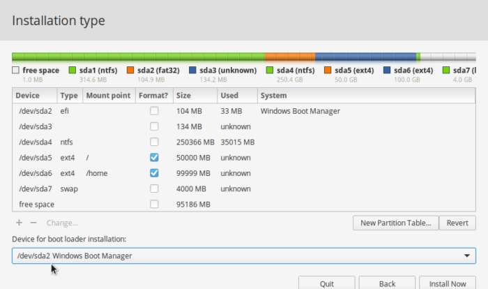 elementary OS 0.4 partitions