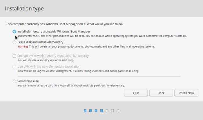 elementary OS installer partition methods