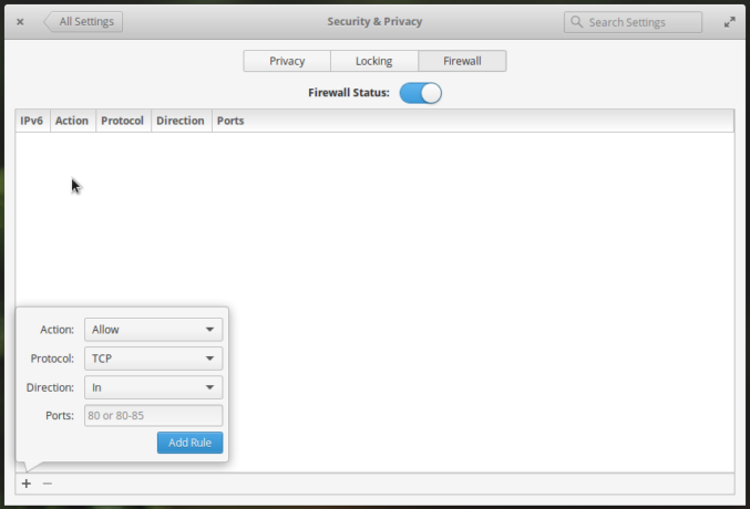 elementary OS Settings firewall ufw