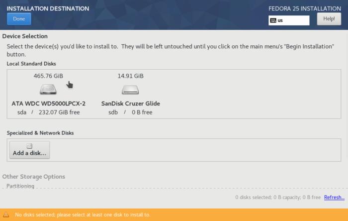 Fedora 25 Anaconda hard drive