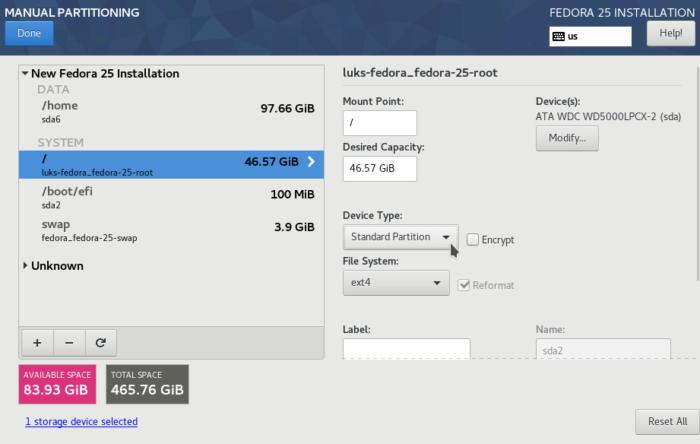 Fedora 25 Anaconda root partition