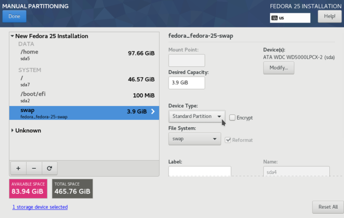 Fedora 25 Anaconda swap partition