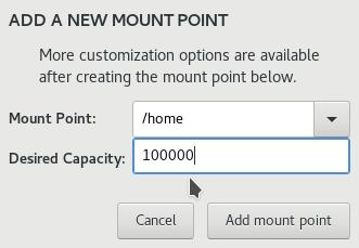 Fedora 25 Anaconda create home partition