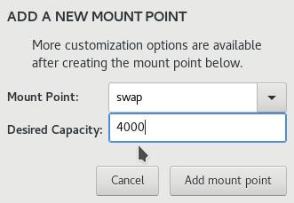 Fedora 25 Anaconda create swap partition