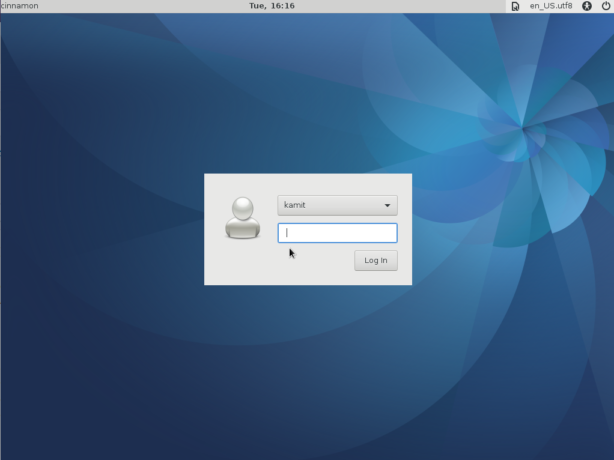 Fedora 25 Cinnamon login window