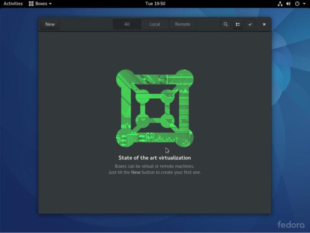 Fedora 25 GNOME 3 Boxes