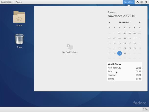 Fedora 25 GNOME 3 calendar