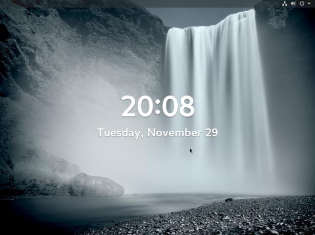 Figure 13: Lock screen of Fedora 25 GNOME 3