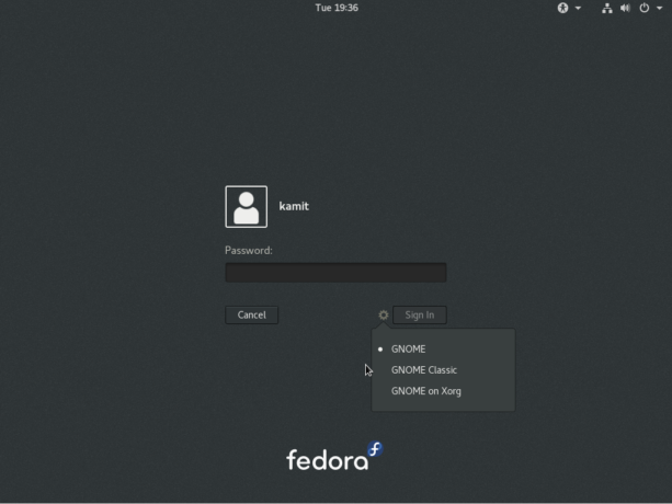 Fedora 25 GNOME 3 login screen