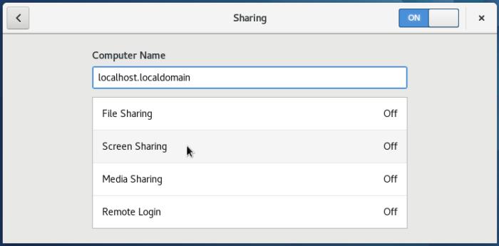 Fedora 25 GNOME 3 Sharing