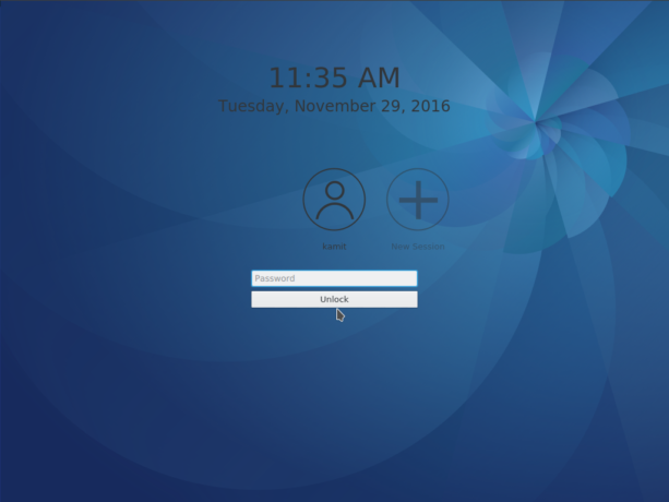Fedora 25 KDE lock screen
