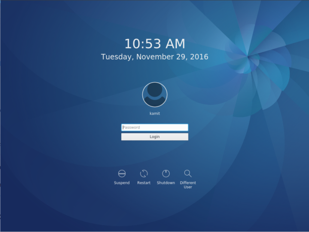 Fedora 25 KDE login screen