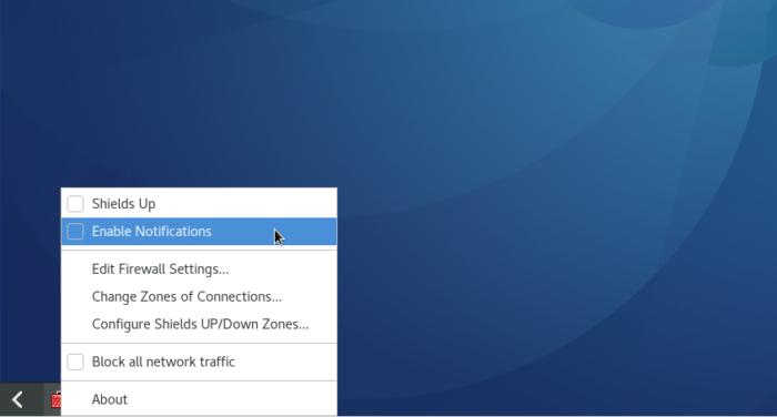 Firewall-applet Fedora 25 GNOME