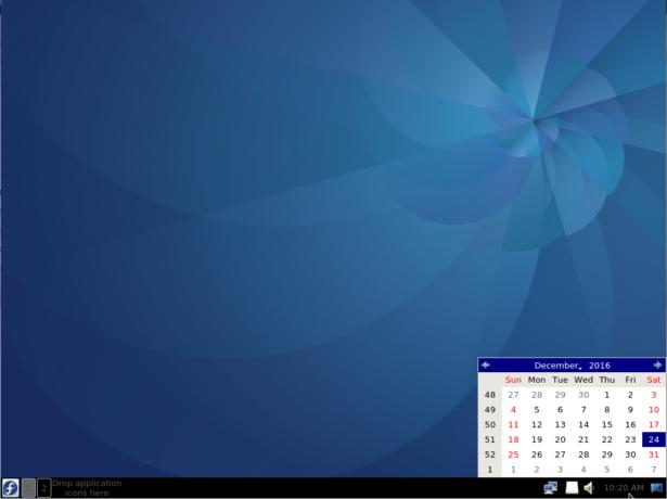 Fedora LXQt panel calendar