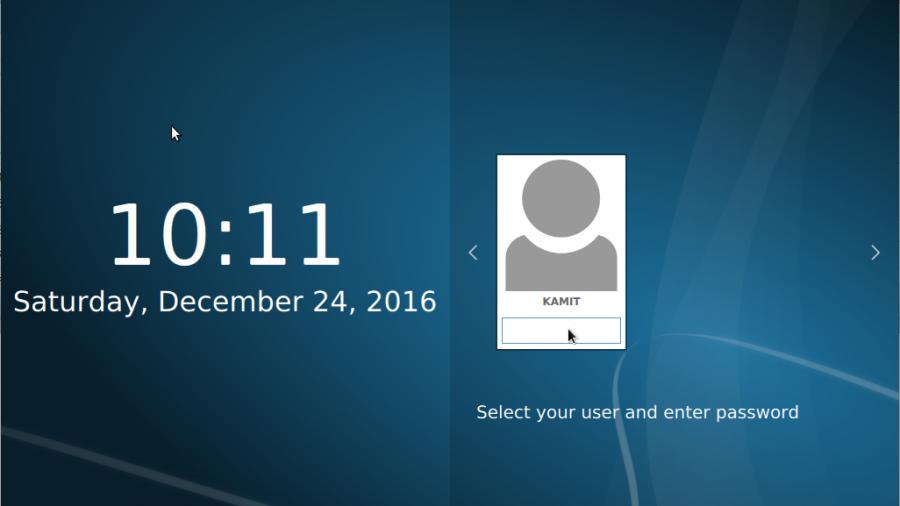Fedora LXQt login screen