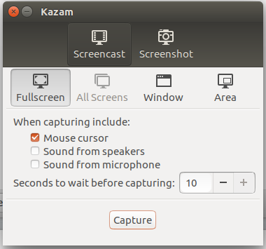 Kazam screencasting application