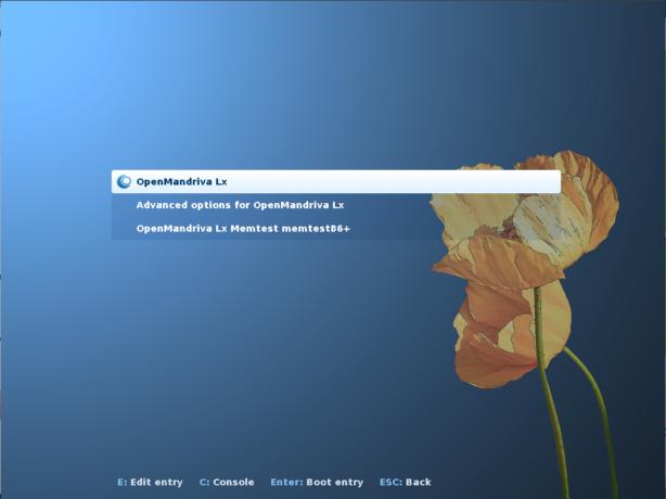 OpenMandriva Lx 3 GRUB menu