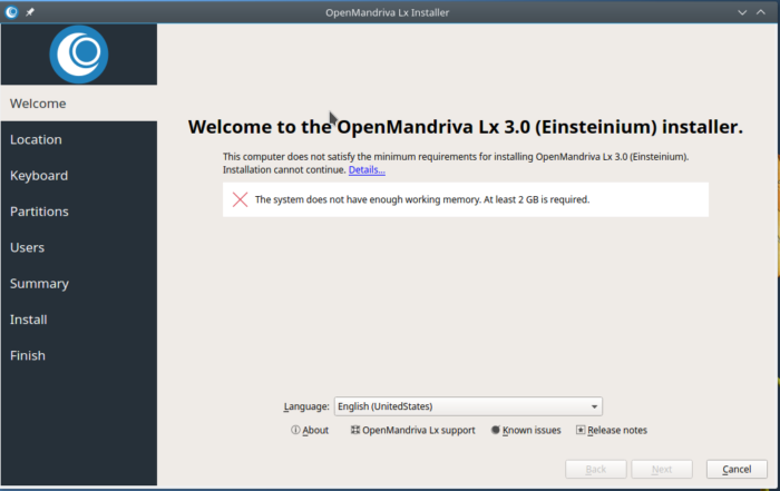 OpenMandriva Lx 3.01 RAM requirements