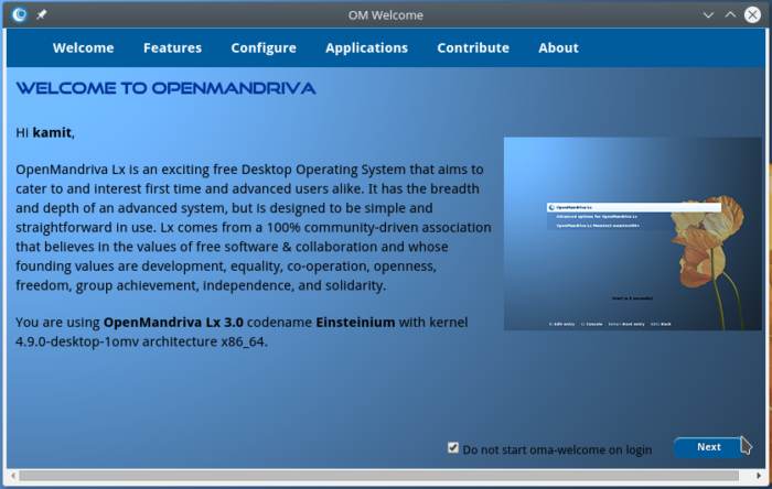 OpenMandriva Lx 3.01 greeter application