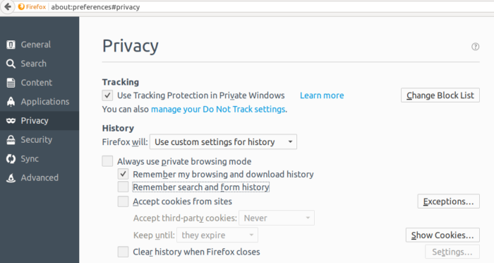 Firefox search form history