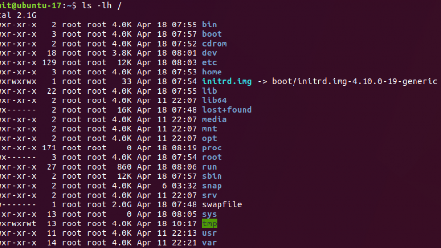 Figure 3: Long listing of the root file system showing the swap file