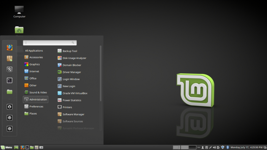 Cinnamon desktop on Linux Mint 18.2