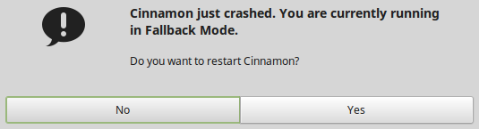 Cinnamon desktop crashed