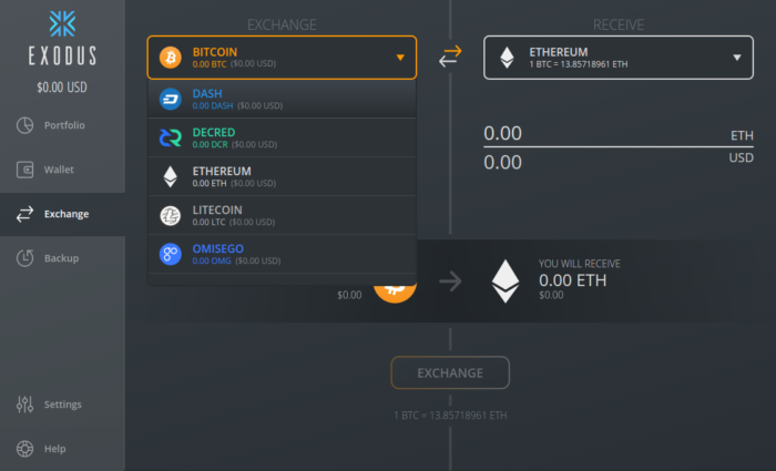 Exodus wallet exchange interface
