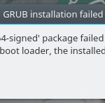 Solution to grub-efi-amd64-signed package failed to install into target