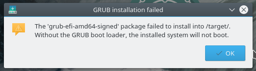 Solution to grub-efi-amd64-signed package failed to install into
