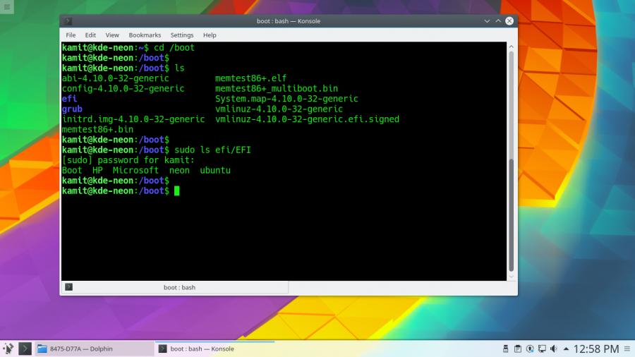 KDE Neon UEFI directory