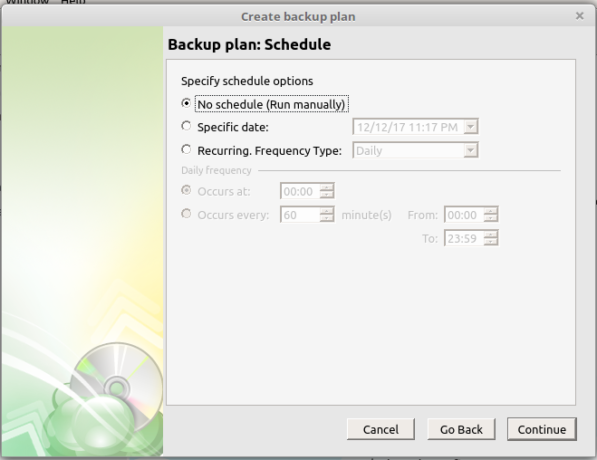 CloudBerry Backup schedule