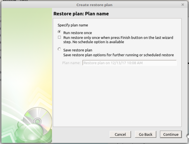 CloudBerry Backup restore plan