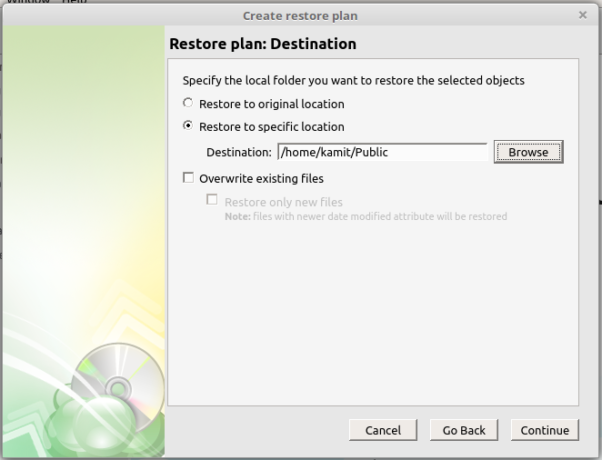 CloudBerry Backup restore destination