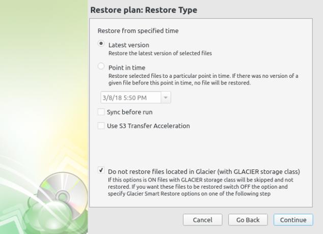 CloudBerry Backup restore operation