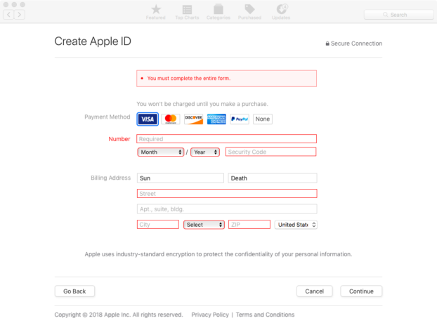 Billing Apple ID