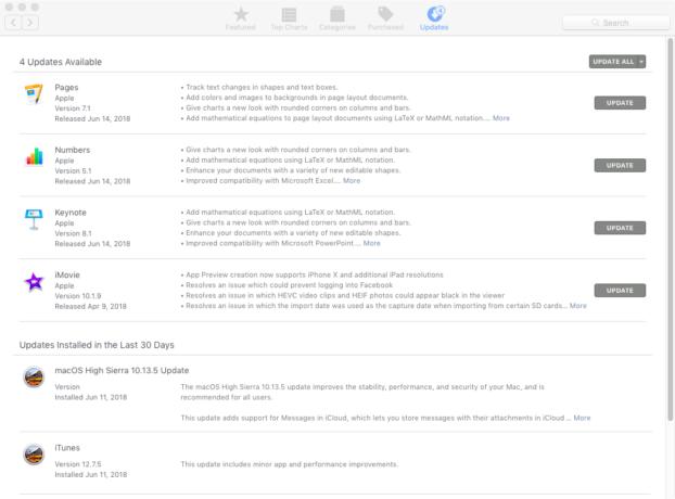 macOS High Sierra updates