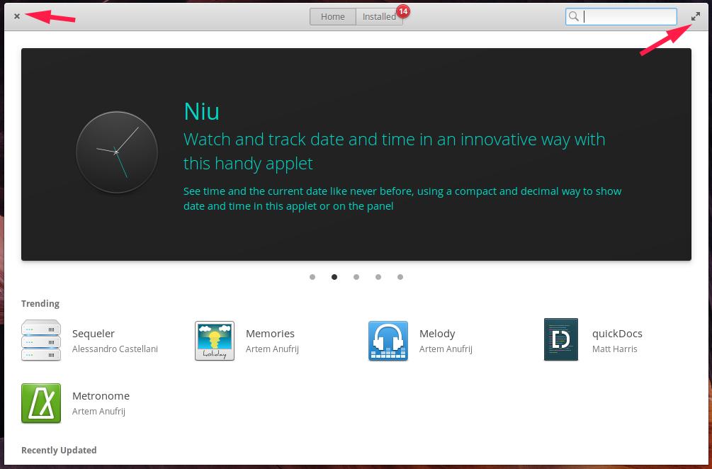 Elementary OS toolbar button