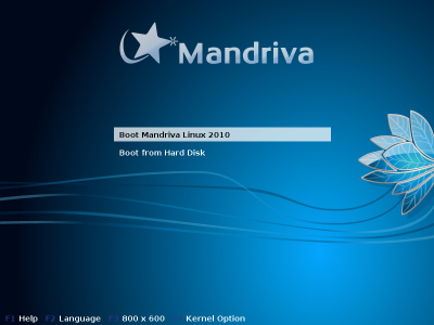 Mandriva One boot screen
