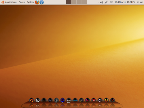 Ubuntu desktop with Cairo-Dock