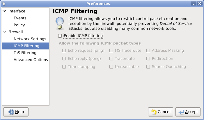 icmp filtering