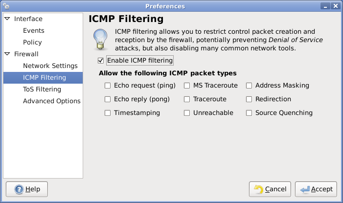 enable icmp filter