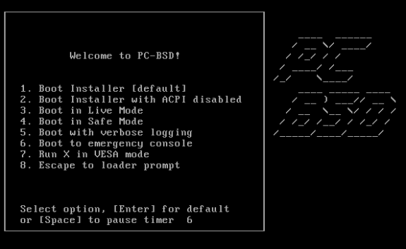 Boot splash screen of PC-BSD 8