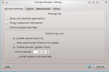 Pardus 2011.1 Package Manager Settings