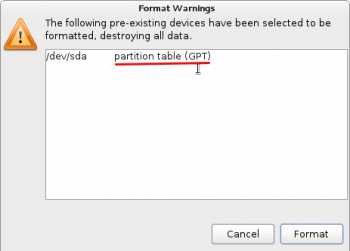 GPT Partition Fedora 16 Anaconda