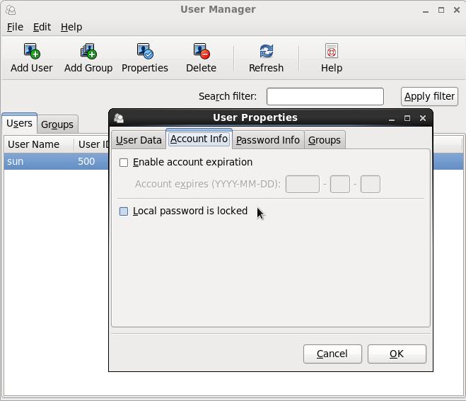 CentOS 6 User Manager