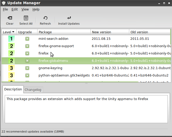 Update MAnager on Linux Mint 11 LXDE