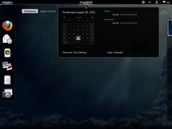 GNOME 3 Calendar Fedora 16