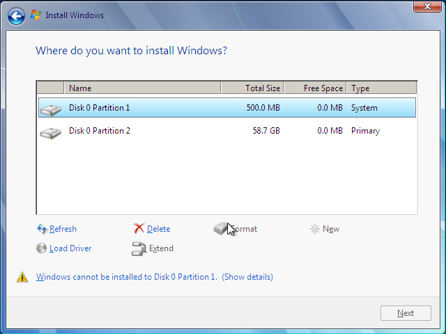 Windows 7 Disk Partitioner